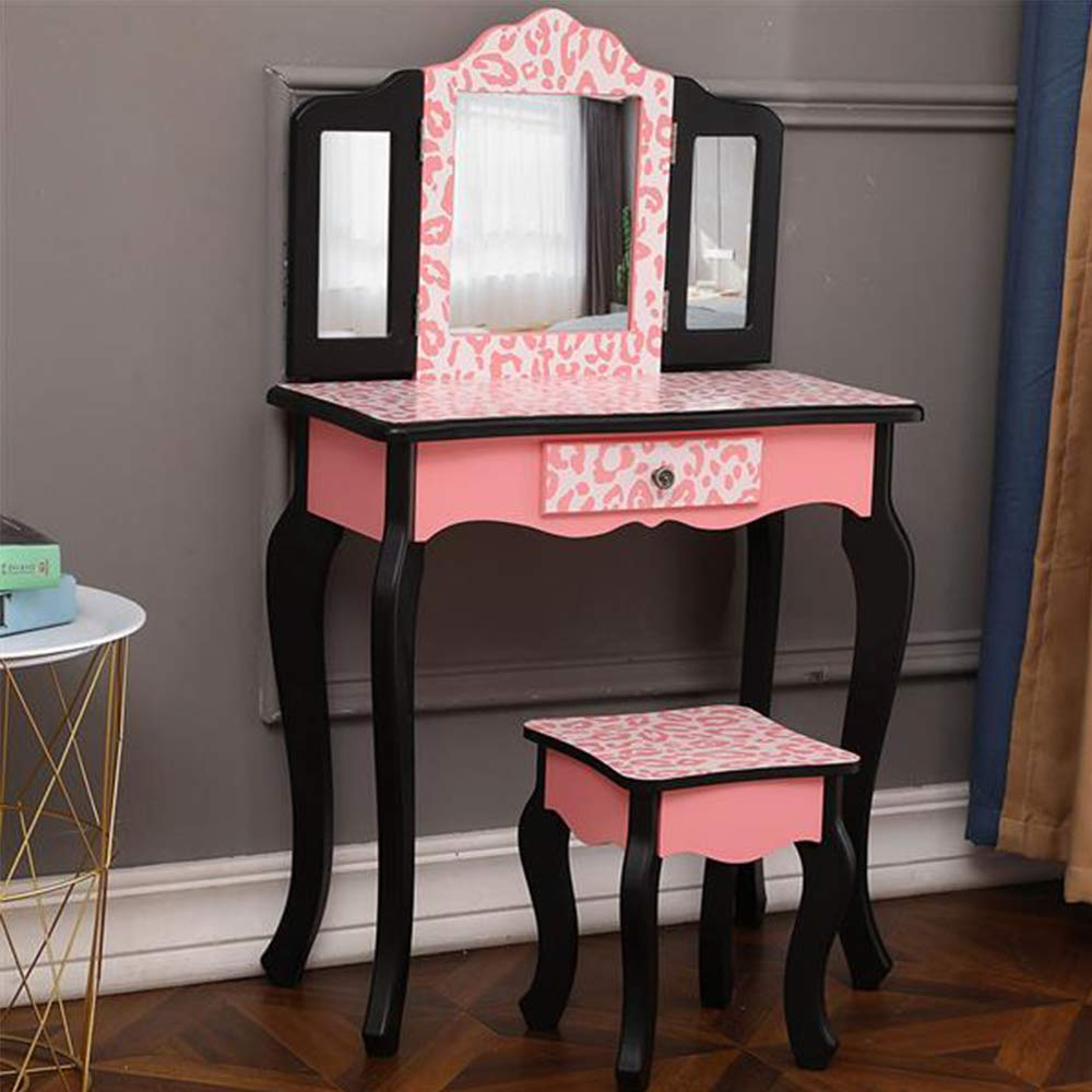 Kids Vanity Table & Stool Set, Princess Makeup Dressing Table with Three-Fold Mirror, Red Leopard Print