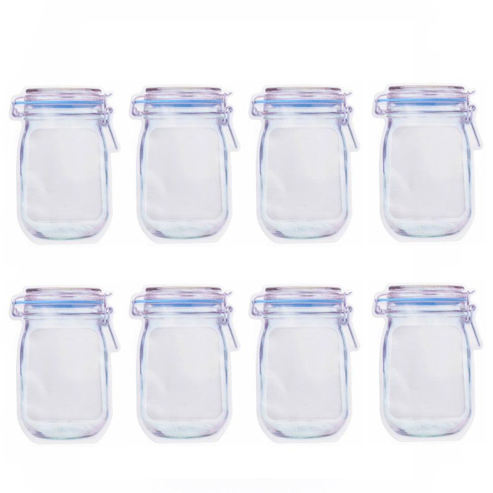 Mason Jar Zipper Bags Pattern Airtight Reusable Snack Bags Sandwich Food Saver Storage Bags for Travel Camping (Sx2+Mx2+Lx2)