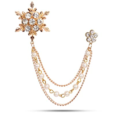 0cd174a3db9 Buy Panjatan Men's Eye Catching Stone Studded Snow Flake with Three Chain Pin  Brooch by Wi Retail. Online at Low Prices in India | Amazon Jewellery Store  ...