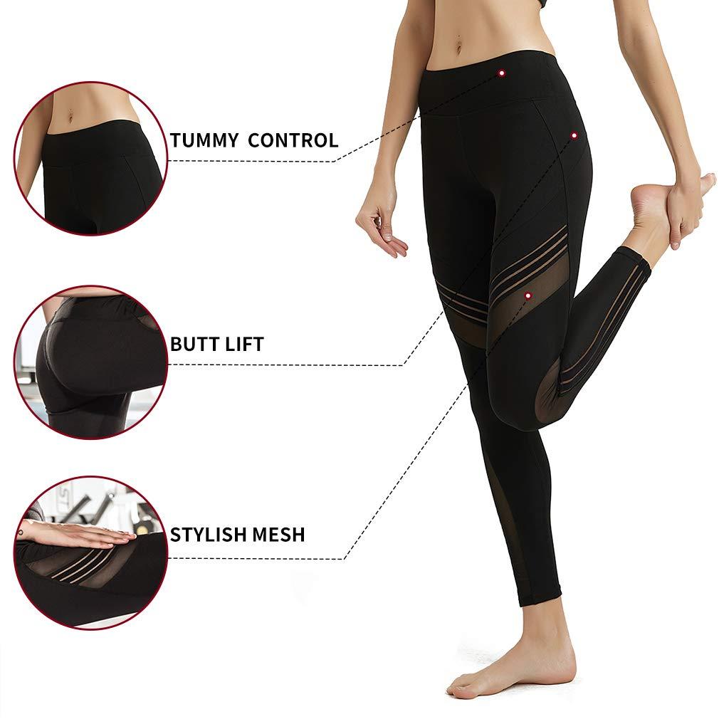 MCEDAR Women's Sport Yoga Leggings High Waist Workout Pants Mesh Tights for Running Jogging Gym (S, Black #1)