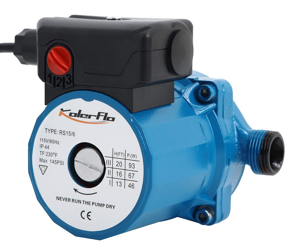 KOLERFLO 115V Water Recirculating Pump 3/4 Inch Circulating Water Pump for Water Heater System(RS15-6 Blue)