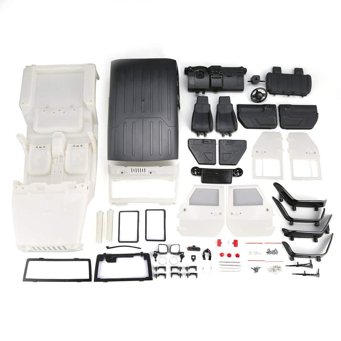 Swiftswan Unmontiert Hartplastik Auto Shell Body DIY Kit für 313mm Radstand 1/10 Wrangler Jeep Axial SCX10 RC Auto Crawler Fahrzeug Weiß