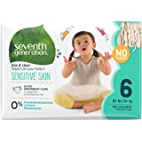 Seventh Generation Baby Diapers, Free and Clear for Sensitive Skin, Original No Designs, Size 6, 100ct (Packaging May Vary)