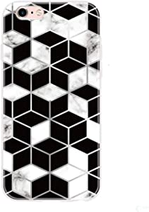 Phone Case Compatible for Huawei Y5 Y6 Y7 Y8 Y9 Pro Prime P Smart Z Plus 2018 2019 Cases Art Geometry Marble Soft TPU Back Cover Capa-F Black White Grid-Compatible for Y7 2019