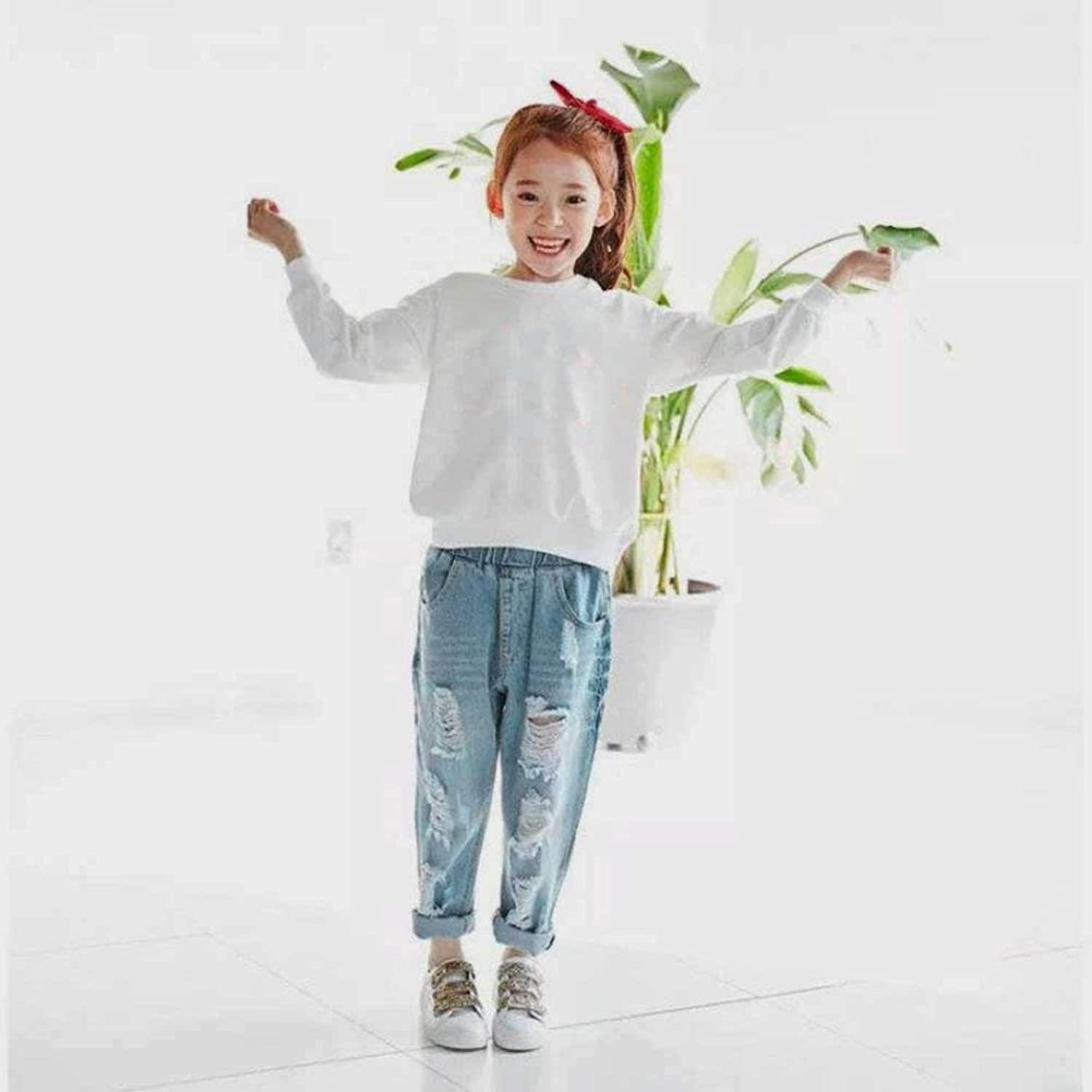 Girls Jeans, KaloryWee Toddler Kids Baby Girls Boys Stretchy Pants Trousers  Loose Ripped Denim Jeans: Amazon.co.uk: Clothing