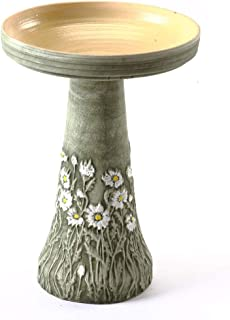 product image for Birds Choice BCDIASY Burley Flowering Daisy Clay Bird Bath, Medium, Green