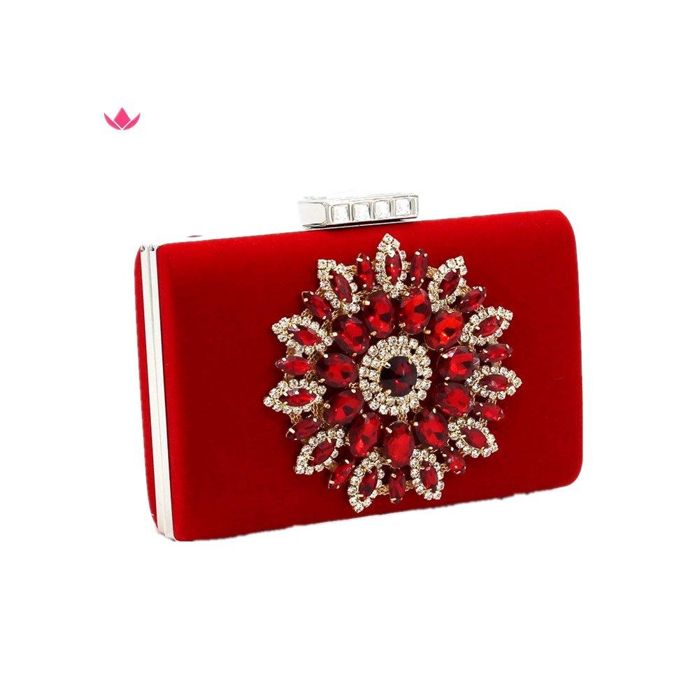 Shiratori Series-Glitter Rhinestone Floral Evening Bag Party Handbags Wedding Clutches Purse,Red