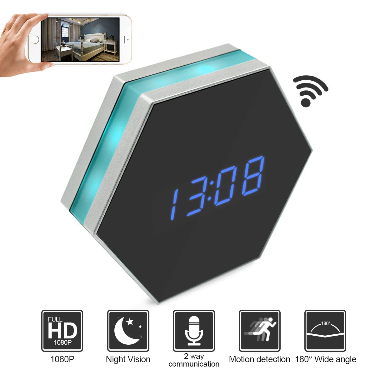 Camakt HD 1080P WiFi Hidden Spy Camera Alarm Clock Camera Night Vision with Motion Detector,Intercom and 160 Degree, Wireless Security Nanny Camera