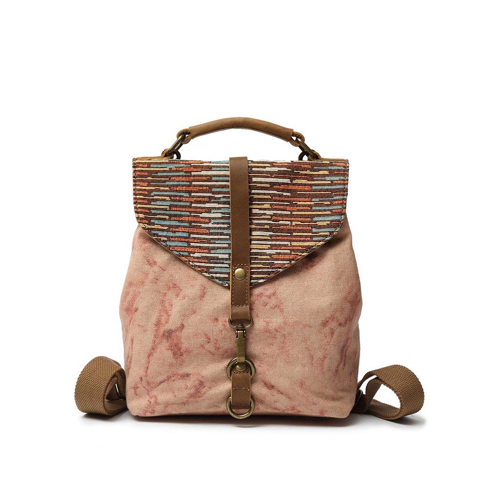 Vianber Women Backpack Ethnic Style Canvas Vintage Casual Literary Shoulder Bag Lady Handbag