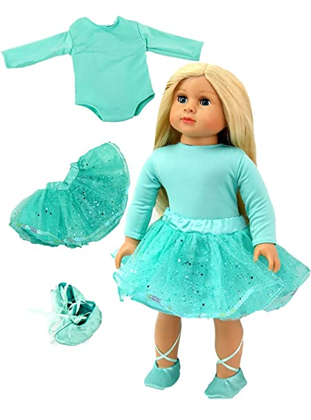 e8fd5ec70b6a8 Amazon.com: Sparkling Mint Green Dance Outfit with shoes-Fits 18 ...