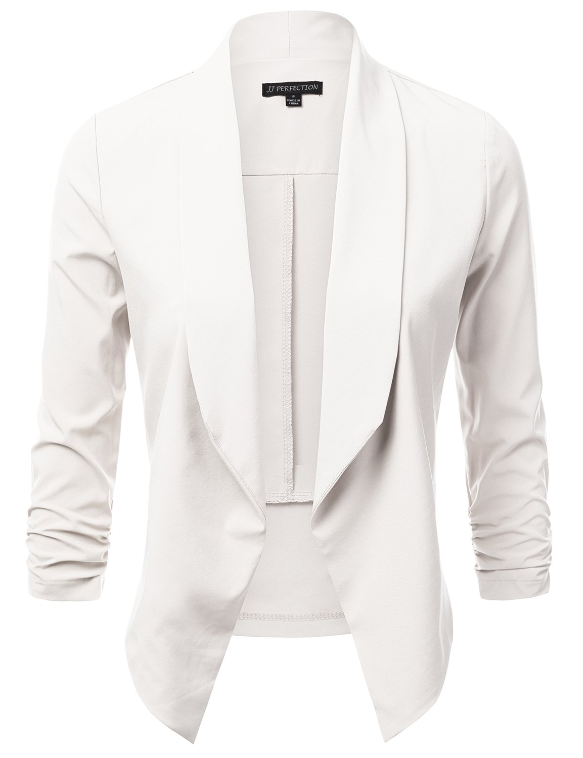 JJ Perfection Women's Lightweight Chiffon Ruched Sleeve Open-Front Blazer OFFWHITE L