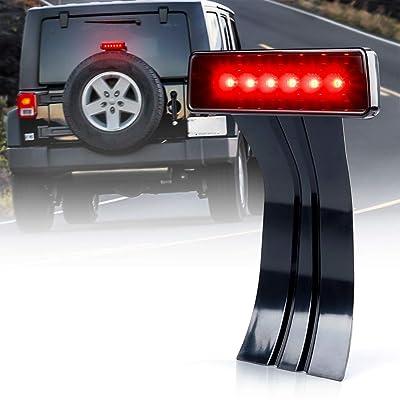Xprite LED Third Brake Lights Tail Lights w/Smoke Lens High Mount Stop Lights for 2007-2020 Jeep Wrangler & Wrangler Unlimited JK: Automotive