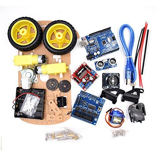 2wd Box (New Avoidance tracking Motor Smart Robot Car Chassis Kit Speed Encoder Battery Box 2WD Ultrasonic module For Ar-du-ino kit)