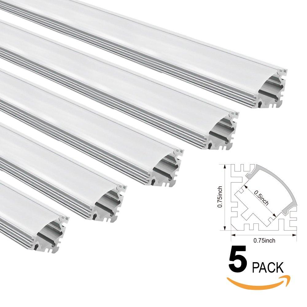 TORCHSTAR 5-PACK 1M/3.3ft V-Shape Aluminum Channel for flex/hard LED Strip Lights, Aluminum Profile with Oyster White Cover, End Caps, Mounting Clips, Emulational Neon Effect V01