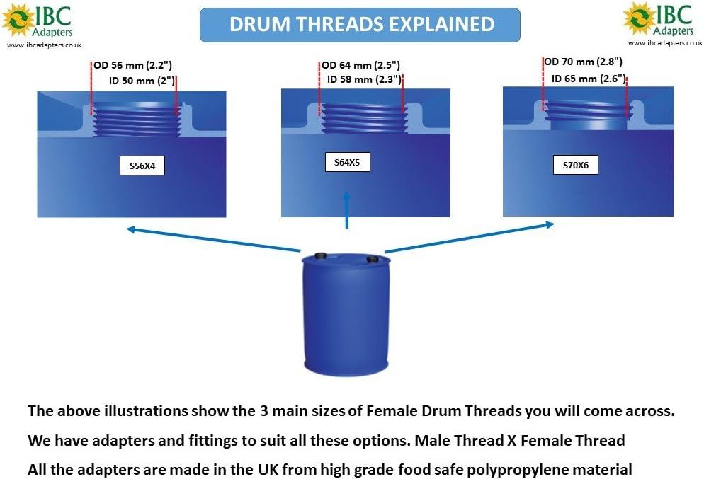 DRUM ADAPTER S56X4 Male Thread to 3//4 BSP Female Thread