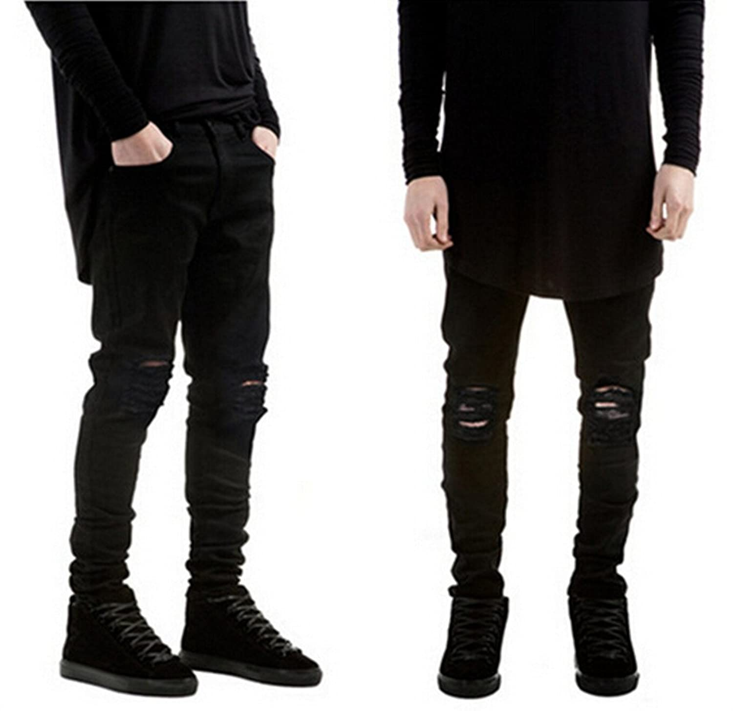 Skinny ripped black jeans mens