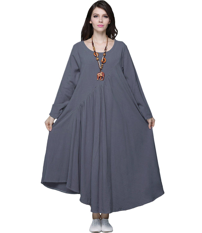 Anysize Sides Seam Pockets Linen& Cotton 4-Season Plus Size Clothing Y66