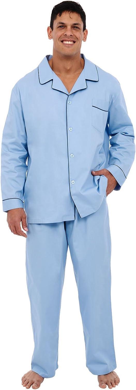 Alexander Del Rossa Men's Lightweight Button Down Pajama Set, Long Cotton Pjs at  Men's Clothing store