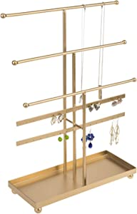 MyGift 5-Tier Gold Tabletop Metal Jewelry Necklace, Bracelet, Earring, Organizer with Ring Tray