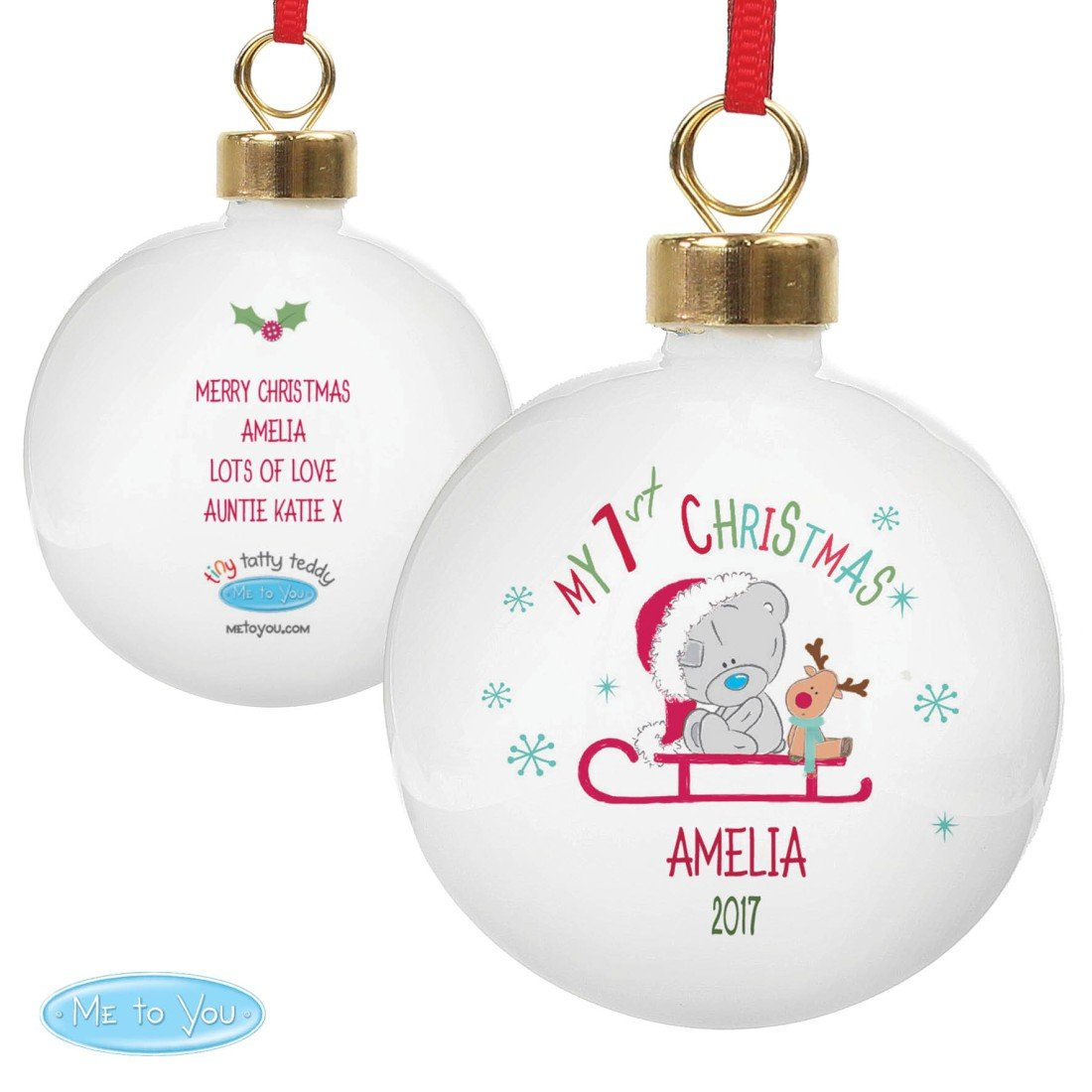 """Personalisierbare Weihnachtskugel Tiny Tatty Teddy """"My 1st Christmas Sleigh"""" - Die perfekte Art und Weise, das erste Weihnachten Ihres Jüngsten zu feiern. pmc"""