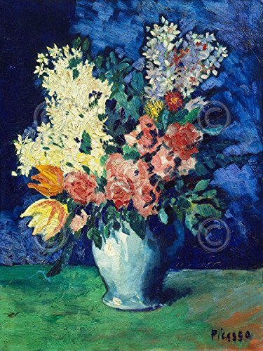 Floral Flowers Life Vase Still (Flowers 1901 by Pablo Picasso Floral Still Life Vase Poster (Choose Size of Print))
