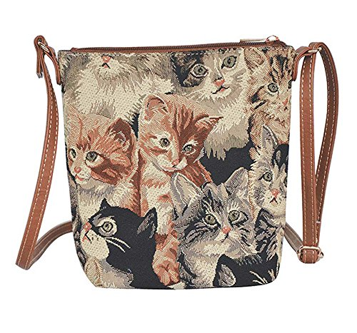 Signare Cat Print Women's Tapestry Lightweight Top Zip Cross Body Bag Sling Bag with Adjustable Strap by (Sling-CAT) by Signare