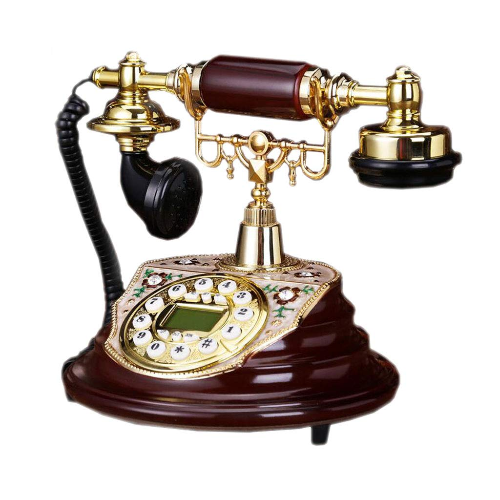 LCM Fashion Retro Phone Imitation Wood Color Resin Metal Button Type Dial Garden Creative Seat Type European Home Office by LCM