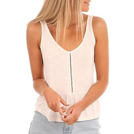 62ae715ff Las mujeres Tank Tops Loose Fit Ladies camiseta de tirantes color sólido  cuello en V sin