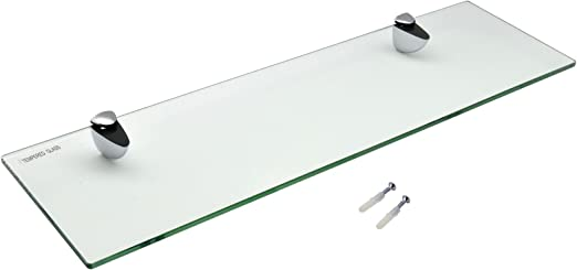 Harbour Housewares Glass Bathroom Shelf With Chrome Fixings Tempered Glass Pack Of 2 50cm