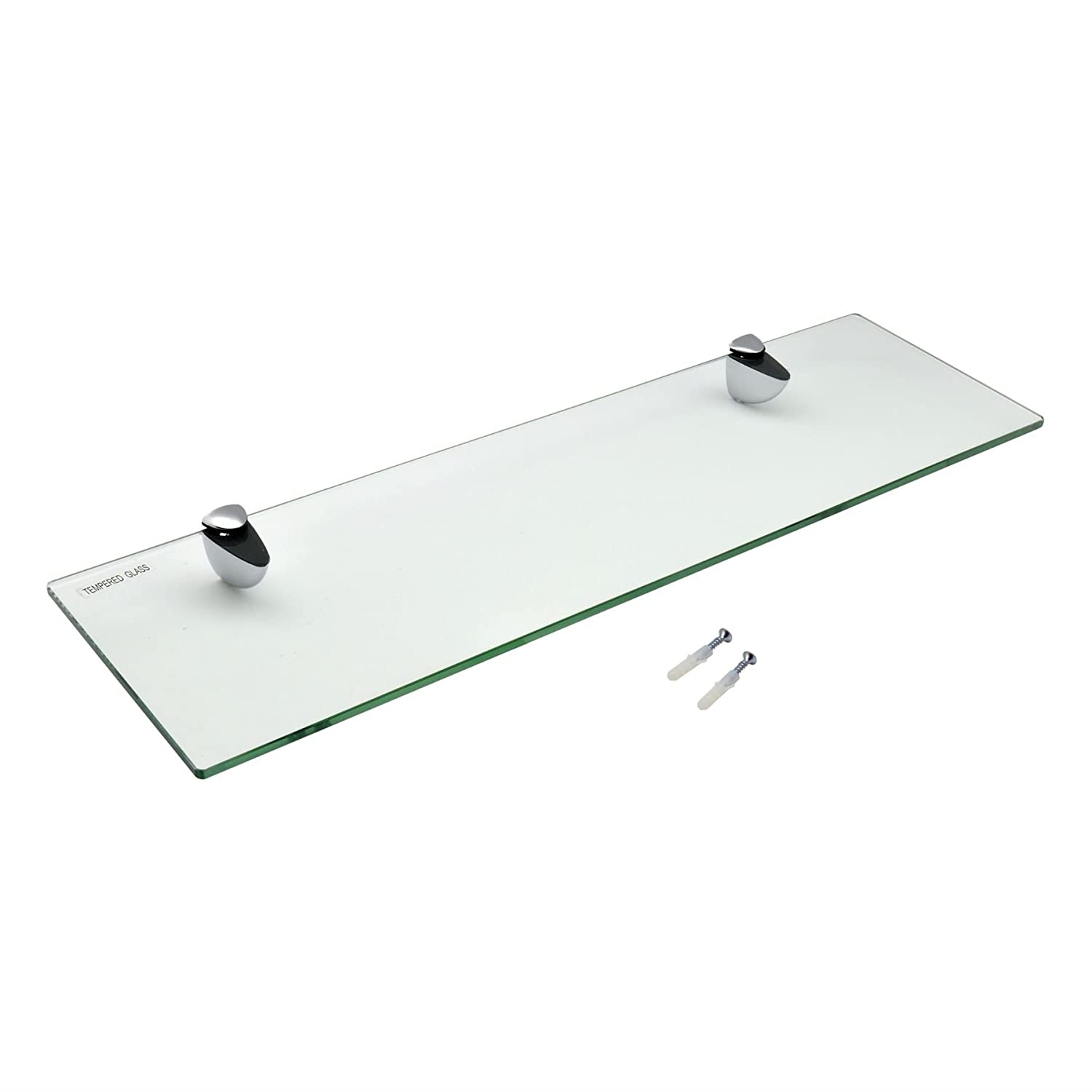 Harbour Housewares Glass Bathroom Shelf With Chrome Fixings - Tempered Glass - 50cm