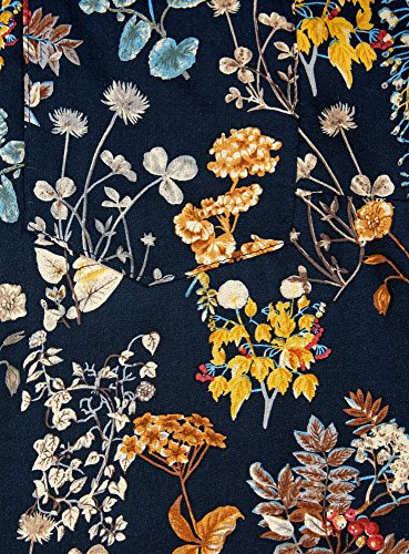 oodji Collection Mujer Túnica Estampada de Viscosa con Cinturón Azul (7955F)