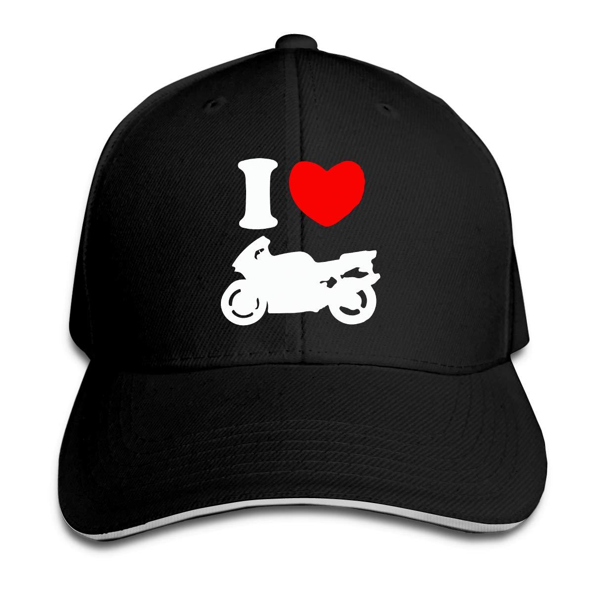 I Heart Love Sport Bike Outdoor Snapback Sandwich Cap Adjustable Baseball Hat Hip Hop Hat