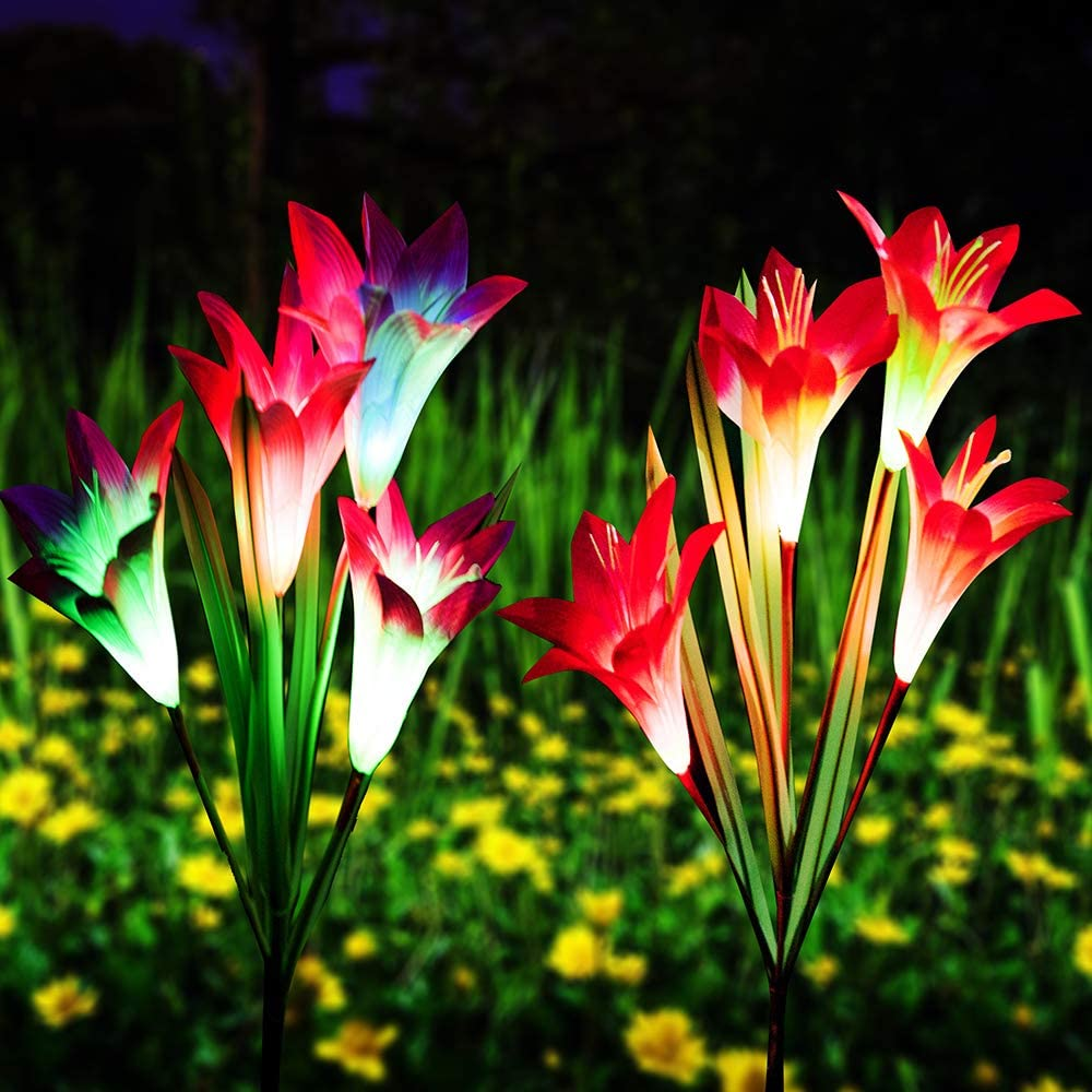Qunlight Outdoor Solar Stake Flower Lights - 2 Pack Solar Powered Decorative Lights with 8 Lily Flower, Multi-Color Changing LED for Garden, Lawn,Patio, Pond,Backyard, etc(Purple and Red)