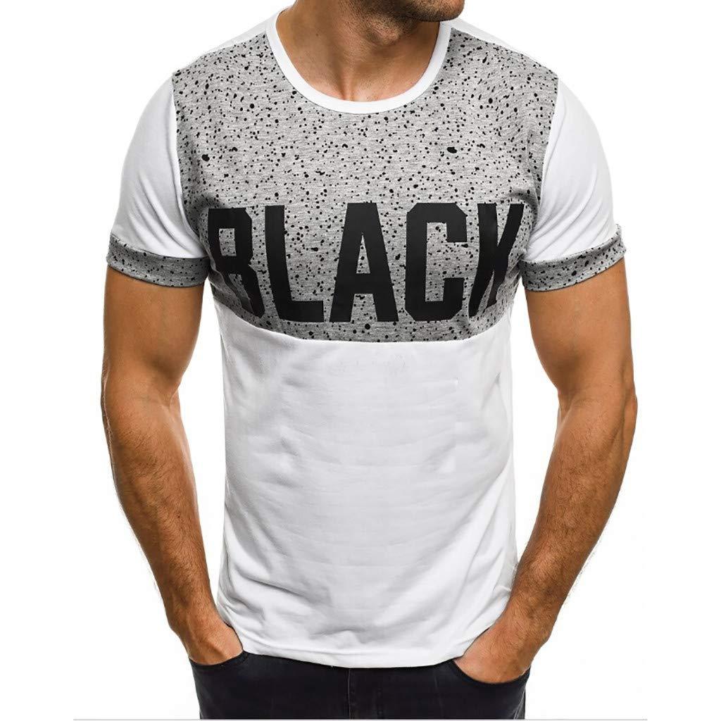 Oliviavan Herren T-Shirt Drucken Kurzarm Blouse M/änner Slim Fit Runde Kragen Fashion T-Shirt Einfaches Shirt Sommer Sport Splicing Printing Tops Vest Sweatshirts