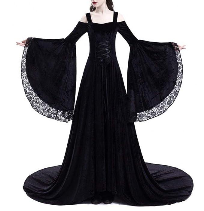 Primavera y Otoño Medieval Renacimiento Disfraz de Reina Moda Encaje Costura Cuerno Manga Vestido de Hombro
