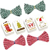 Madholly 200 Pieces Christmas Gift Tags Labels with String in 4 Designs