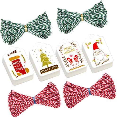 Madholly 200 Pieces Christmas Gift Tags Labels with String in 4 Designs by MADHOLLY