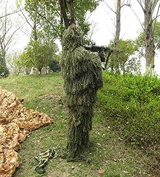 Ghillie Costume Camouflage 3D Vert Camouflage Feuille de la Jungle Camouflage Costume de Chasse arm/ée Airsoft tir Halloween pour Enfants et Adultes