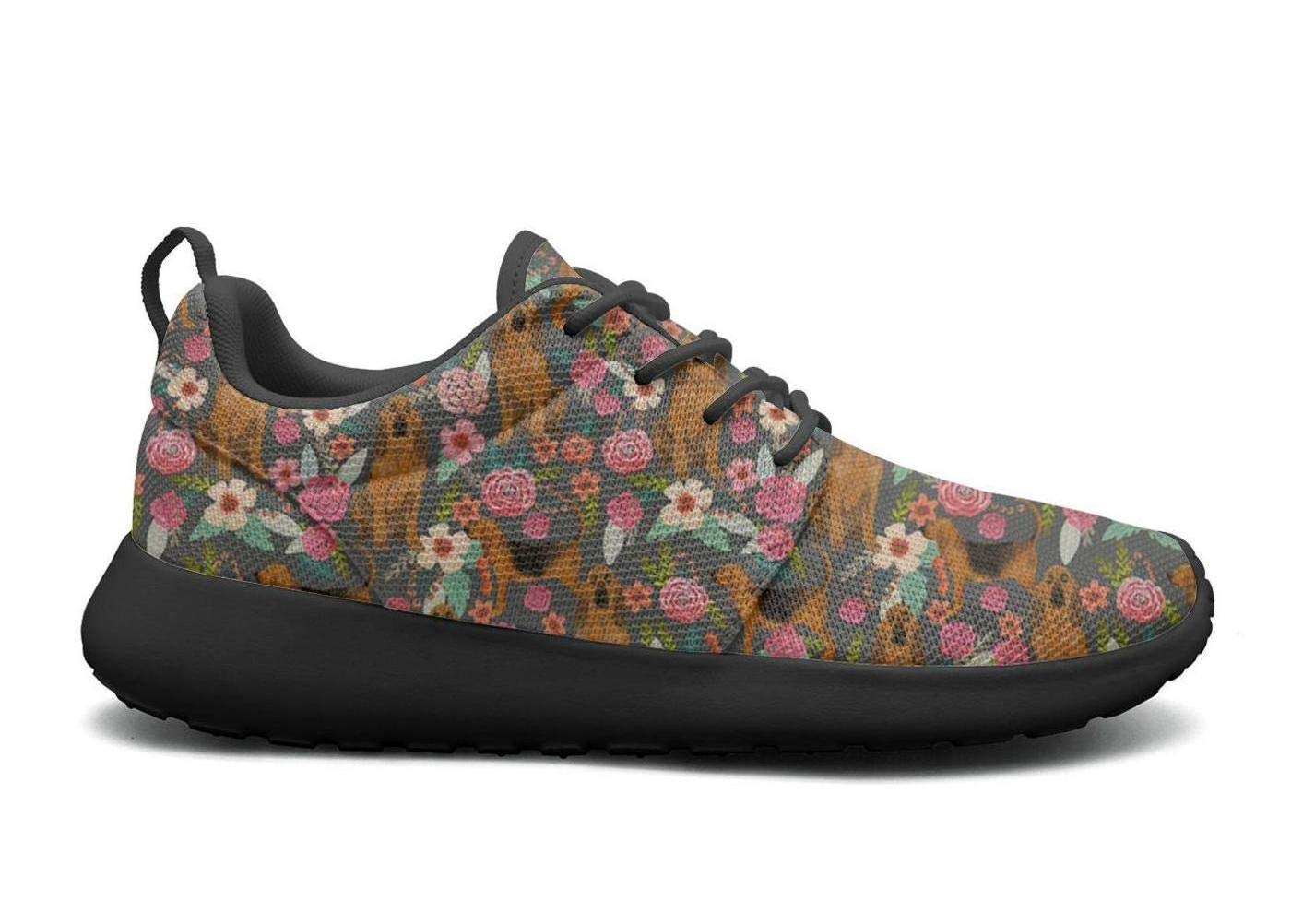 FEWW11 Women Cool Lightweight Shoes Sneakers Cute Airedale Terrier Dog Florals Cozy Gym Lace-Up