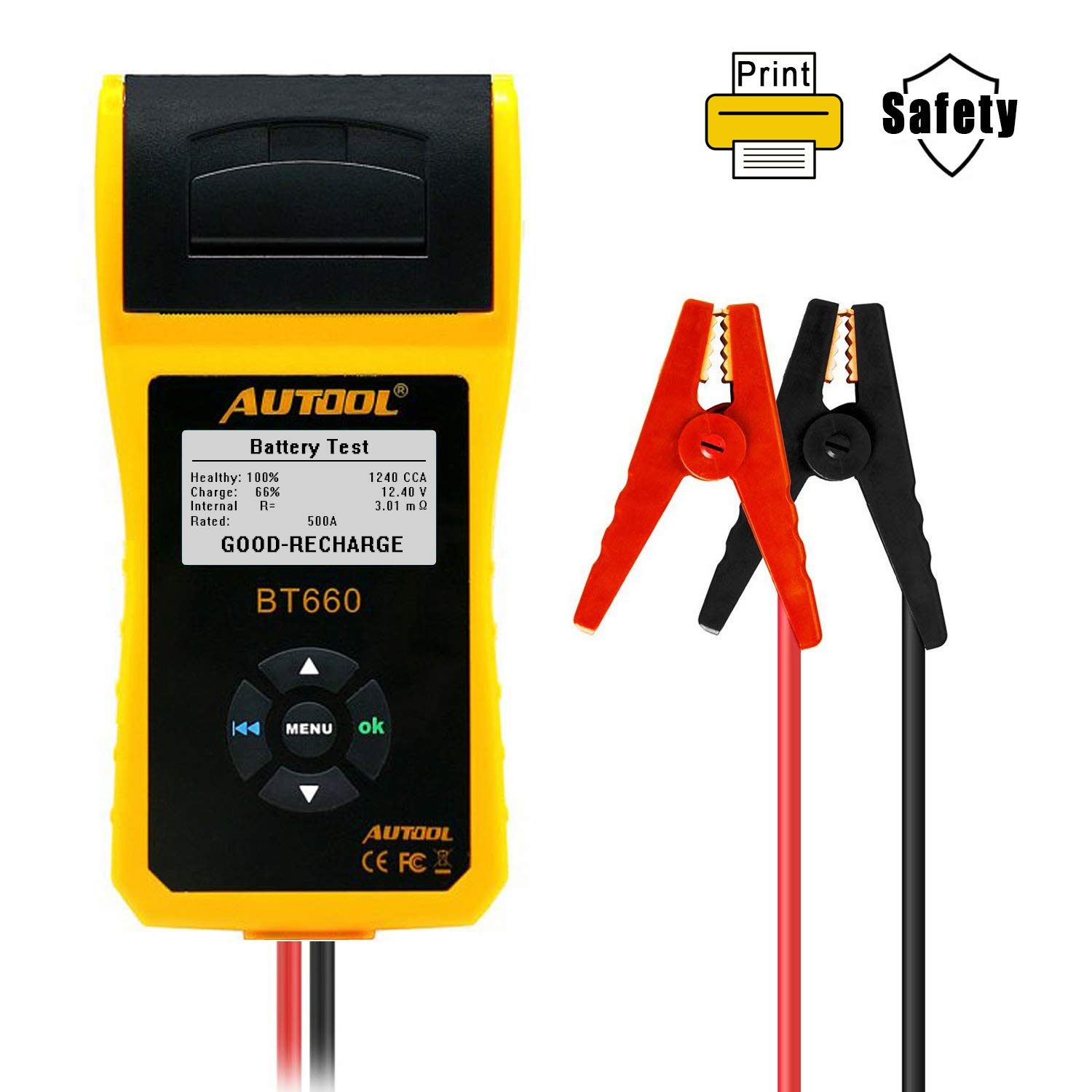 AUTOOL BT660 CCA 100-3000 12V/24V Battery Load Tester, Car Cranking and Charging System Analyzer Scan Tool with Printer for Heavy Duty Trucks, Cars, Motorcycles, Boats by AUTOOL (Image #8)