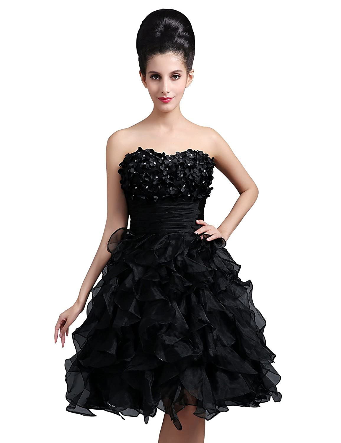 Clearbridal Women's Black Organza Short Party Cocktail Dress Sweetheart Prom Gowns with Hand Made Flower