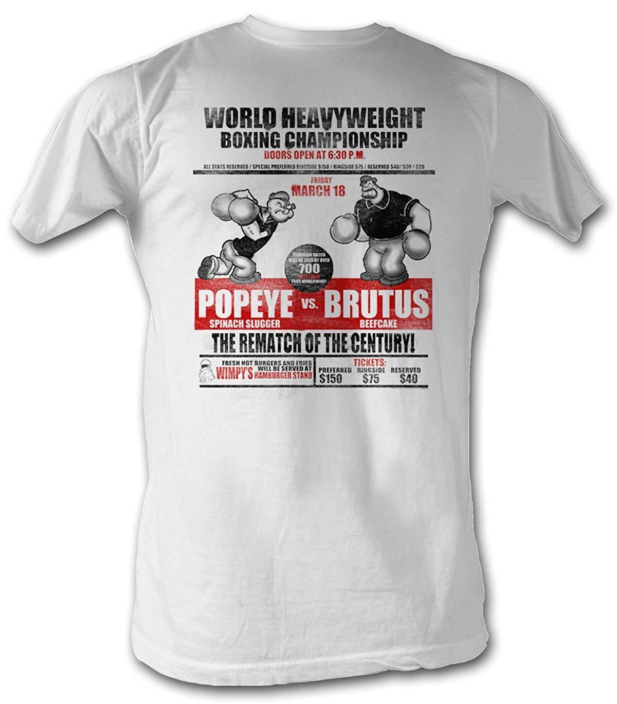 A E Designs Popeye T Shirt Heavyweight Boxing Championship Adult T