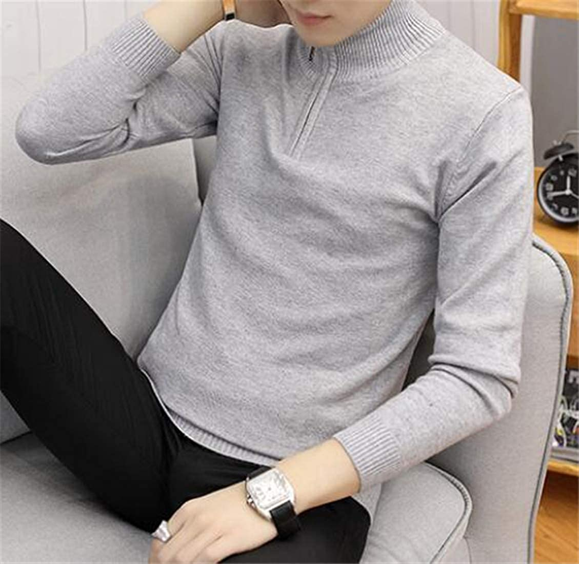 Sweatwater Mens Knitted Mock Turtle Neck Pullover Classic Jumper Zipper Sweater