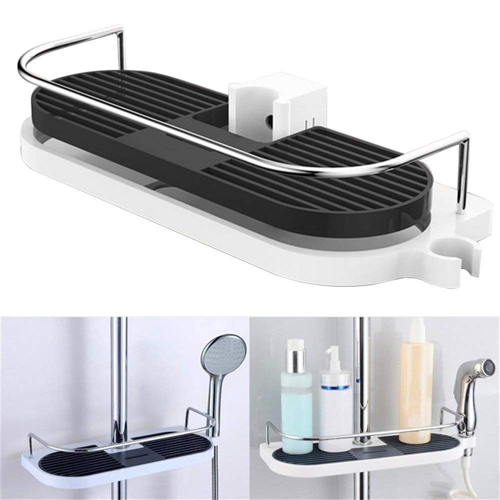 guizen espacio aluminio estante de ducha telescópica acero ...