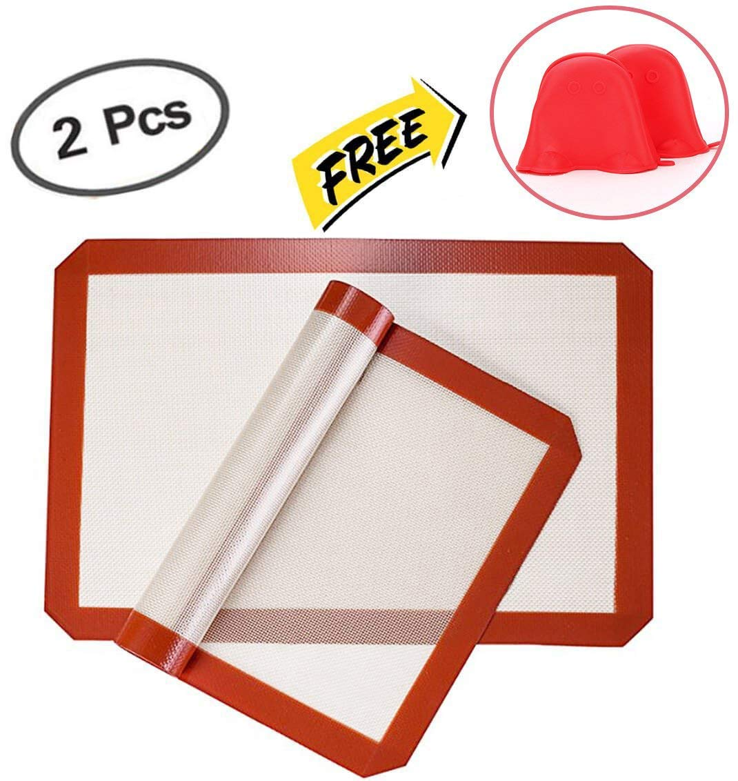 YORLFE Silicone Baking Mat - Set of 2 Half Sheet (Thick & Large 11 5/8'' x 16 1/2'') - Non Stick Silicon Liner for Bake Pans & Rolling - Macaron/Pastry/Cookie/Bread Making, Silicone Cooking Mitts