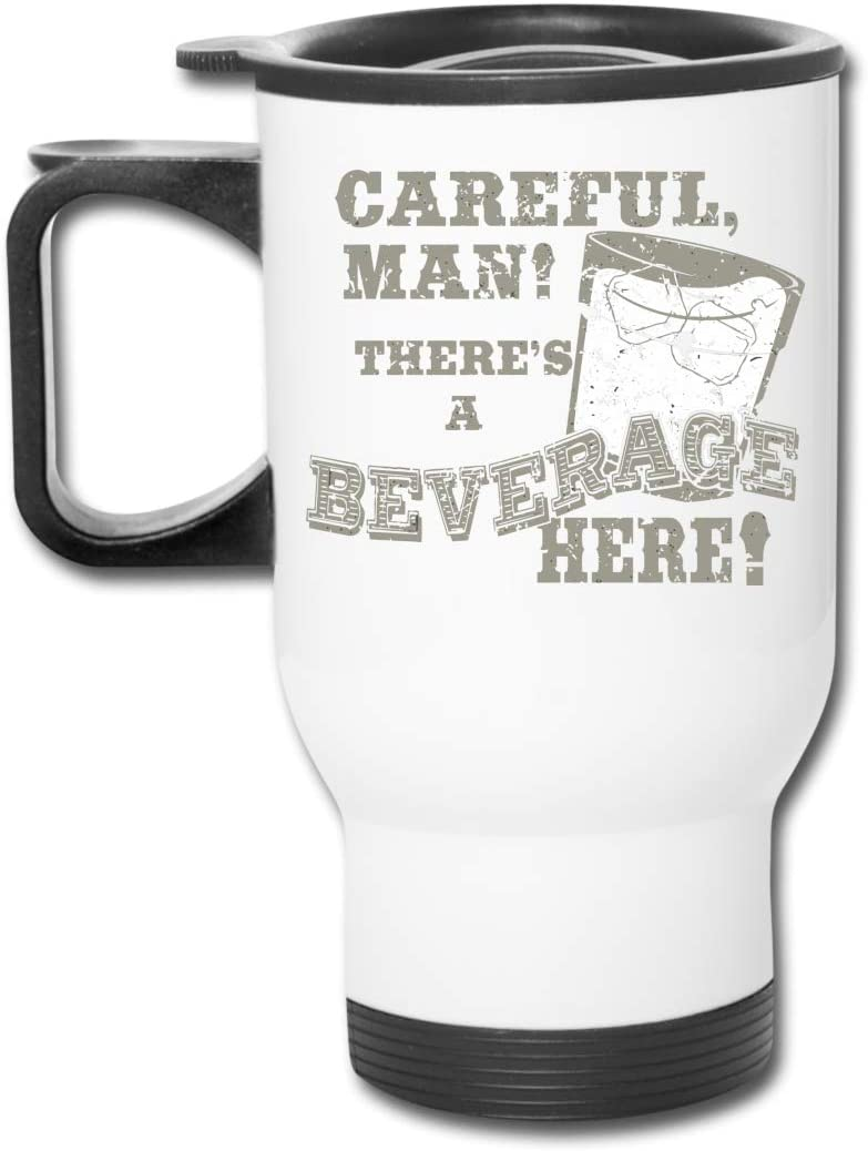 Big Lebowski Careful Beverage 16 Oz Stainless Tumbler Double Wall Vacuum Coffee Mug With Splash Proof Lid For Hot & Cold Drinks