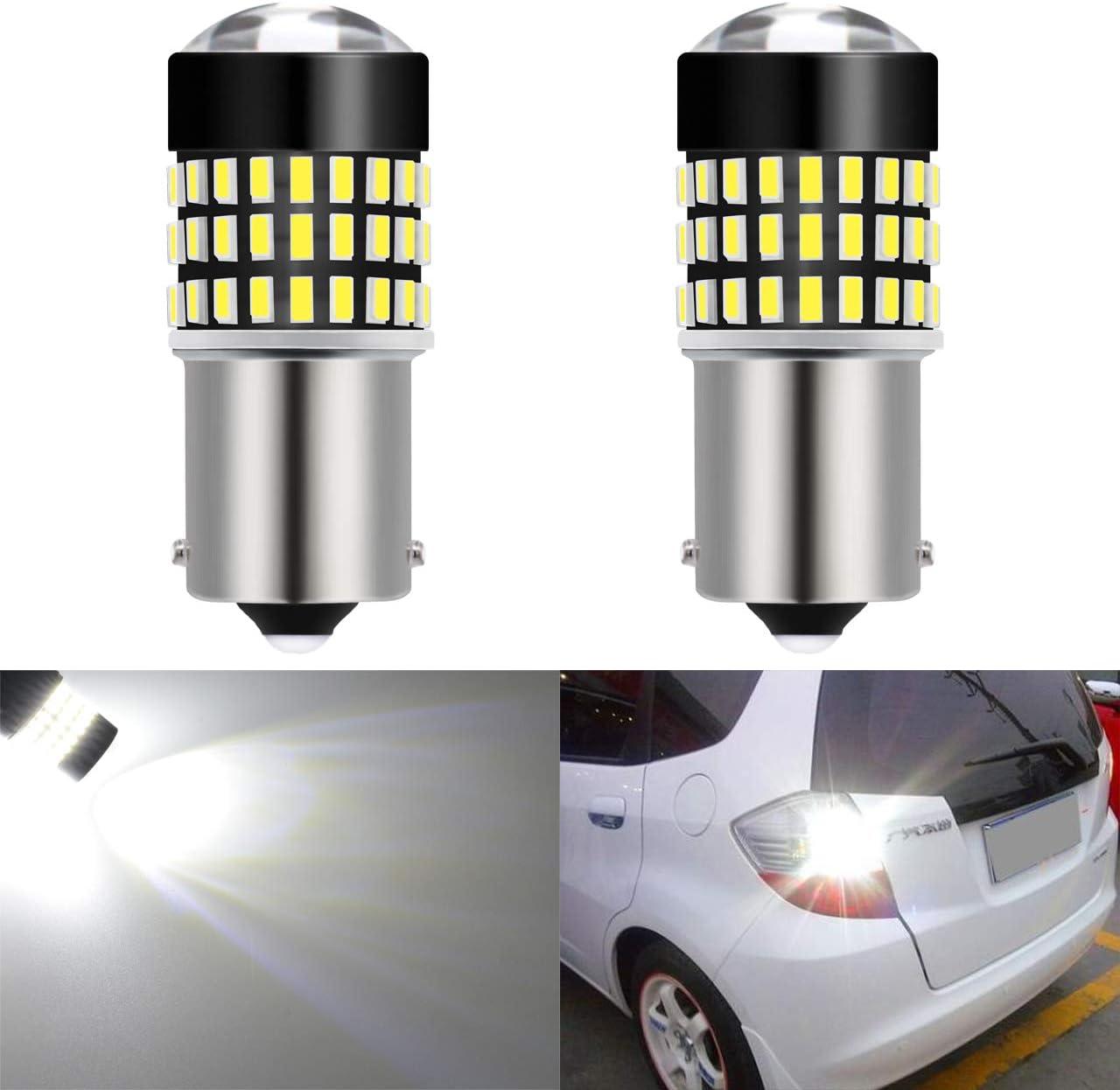 KATUR BA9 BA9S 53 57 1895 Led Light Bulb Super Bright 930 Lumens 3014 78SMD Lens LED Bulbs for Brake Turn Signal Tail Backup Reverse Brake Light Lamp,Xenon White Pack of 2