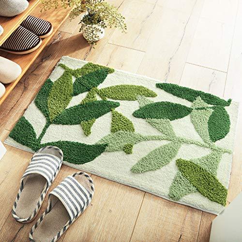 MONISE-honme Outdoor Mat Door Mat Leaf Plant Patter Floor Mats Gateway Bathroom Door Water Absorbent Anti-Slip Mat,Dining Room Home Bedroom Carpet Floor Mat Two Sizes(EL,80x50cm)