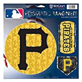 "Pittsburgh Pirates MLB Prismatic 3 Different Die Cut Magnets On Single 11"" x 11"" Sheet Magnet"