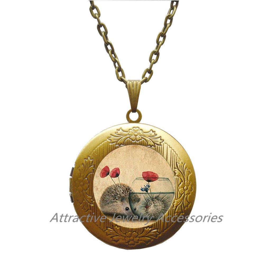 Nature Jewelry,Hedgehog Gift Hedgehog Locket Necklace,Charm Locket Necklace Woodland Animal Hedgehog Charm,QK160